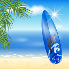 Blue surfboard on the sea background