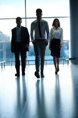 Silhouettes of Business people . Business Team