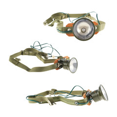 Army head flashlight isolated