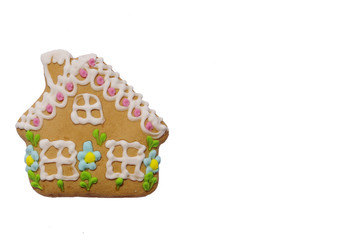 Colorful gingerbread with shape of house isolated