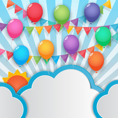 balloon and party flags sky background