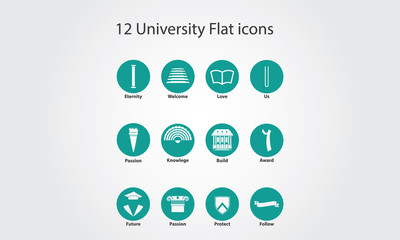 University unique flat icons