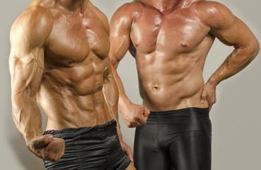 Fit body versus fat body, flexing muscles