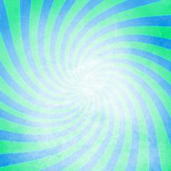 Grunge cyan swirl sunburst background