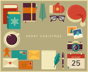 Christmas Santa's desktop flat vector design with elements