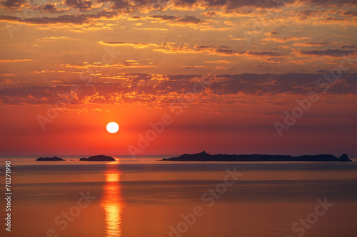 Leinwanddruck Bild Paintbrush Sunset Sky
