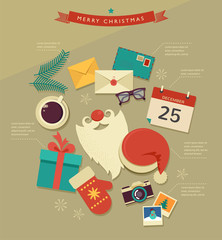 Christmas Santa's desktop flat icons design, vector infographic
