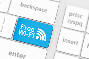 Free WI-FI button on keyboard with soft focus