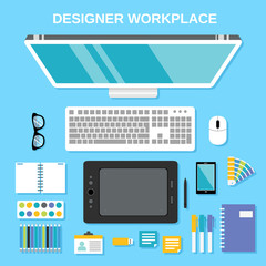 Designer workplace top view
