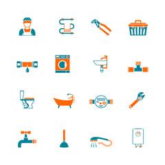 Plumbing icons set