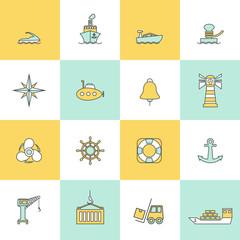 Sea Port Icons Flat Line Set