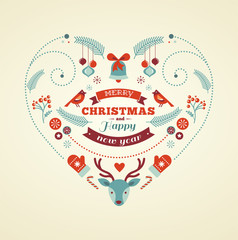 Christmas design heart with birds, elements, ribbons and deer