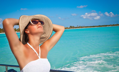 Woman relaxing enjoying luxury lifestyle