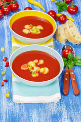 Creamy Tomato Soup. Two bowls of delicious tomato soup