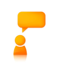Person with speech bubble. Orange vector icon of man