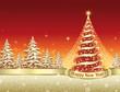 Christmas card with a festive Christmas tree