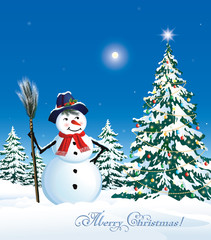 Christmas card with a festive Christmas tree and snowman
