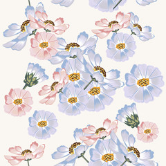 Seamless wallpaper pattern with blue and pink cosmos flowers