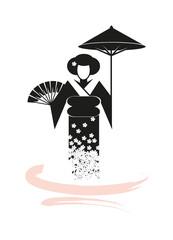 Geisha mit Fächer und Schirm