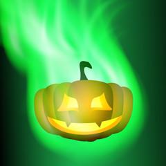 Burning pumpkin. Green fire.