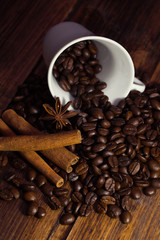 Coffee beans, anise and cinnamon sticks.