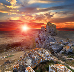 sunset with rocks