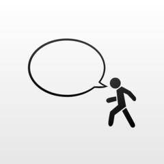 Pedestrian symbol and speech bubble