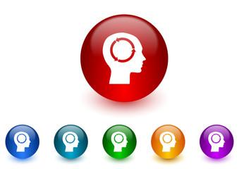 head internet icons colorful set
