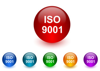 iso 9001 internet icons colorful set