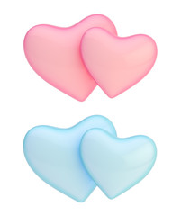 Pair of hearts composition isolated