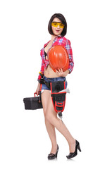 sexy woman builder holding helmet