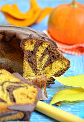 Pumpkin and chocolate marble cake.