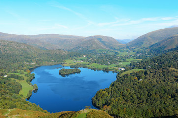 Grasmere Lake and Island from Loughrigg Fell