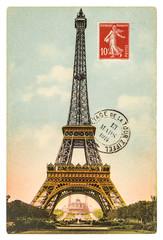 vintage postcard with Eiffel Tower in Paris