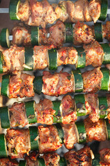Shish kebab with vegs and mix of spices on bbq