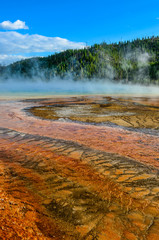 Detail view of Grand prismatic colorful hot spring, Yellowstone
