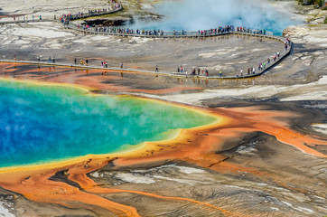 Detail view of Grand Prismatic spring in Yellowstone NP