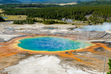 Landscape view of Grand Prismatic spring in Yellowstone NP