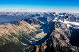 Mountain range view from Mt Temple, Banff NP, Alberta, Canada