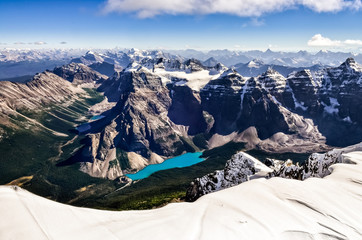 Mountain range view from Mt Temple with Moraine lake
