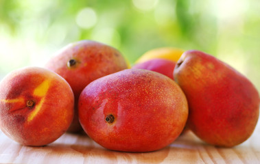 Peach, mango and pear fruits