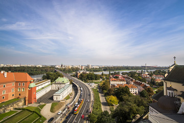 Warsaw Old Town traffic on the bridge over River Vistula