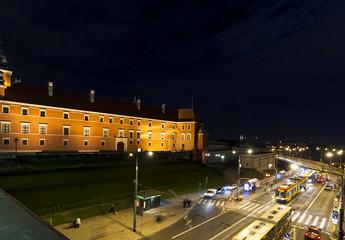 Warsaw traffic at night next to Royal Castle