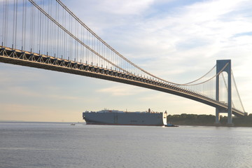 Large trade ship passes under Verrazano-Narrows Bridge