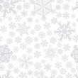 Christmas seamless pattern of snowflakes, gray on white