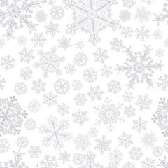 Christmas seamless pattern of snowflakes, gray on white