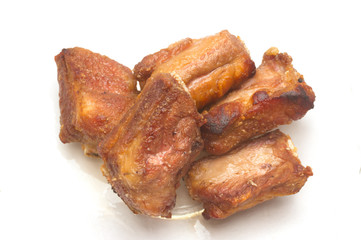 Fried spareribs with garlic  pepper