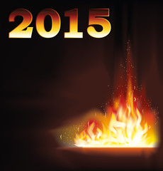 New 2015 Year fire flame background, vector illustration
