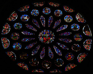 Rose Window - Stained Glass in Leon Cathedral