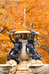 Beautiful fountain in autumn time